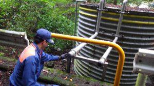 高草山のコルゲート水槽点検1
