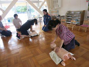 藤枝聖母幼稚園での救急出前講習1