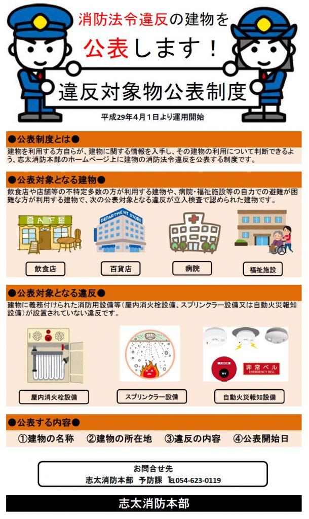 違反対象物公表制度による公表 – 志太消防本部