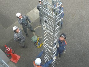 三連はしご取扱い訓練
