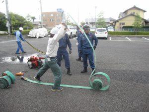 消防活動訓練 ホース延長