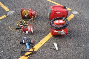加圧排煙機に使用した資機材