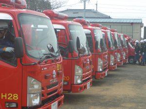 消防団車両 CD-1型8台 水槽車3台 軽可搬積載車3台