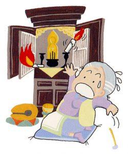 仏壇のろうそくに着衣が接触して出火