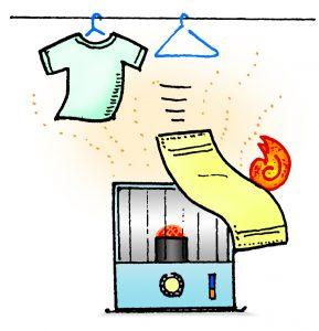 暖房器具に洗濯物等が接触し出火