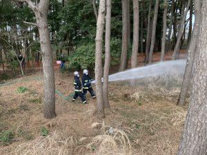 消防署による防風林への放水