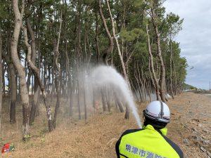 消防団による防風林への放水