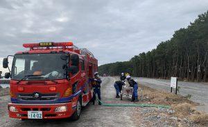 消防署と消防団と連携した中継放水体系